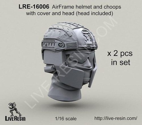 Live Resin 1/16 Live Resin Crye Airframe helmet with cover and choops with head, 1/16 scale