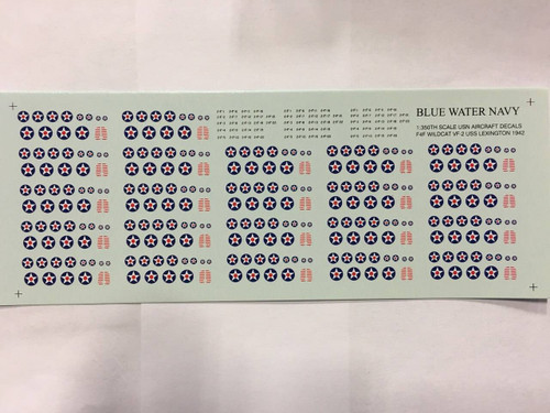 All Other Brands 1/350 Blue Water Navy VF-2 USS Lexington 1942 Aircraft Air Wing Decals 5 pack