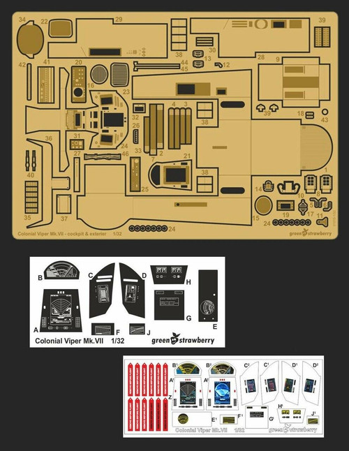 Green Strawberry 1/32 Green Strawberry Photo Etch Colonial Viper MkVII - cockpit and exterior