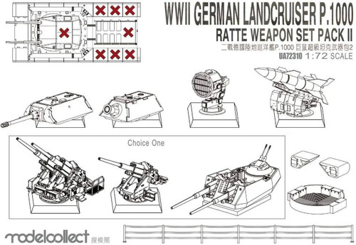 ModelCollect 1/72 Modelcollect WWII Germany landcruiser p.1000 ratte weapon set pack II