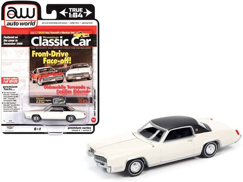 Auto World 1/64 Hemmings Classic Car – 1967 Cadillac Eldorado Grecian White w/Flat Black Vinyl Roof