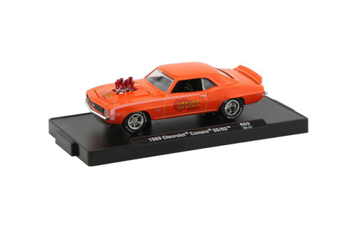 M2 Machines 1/64 M2 Machines Drivers 69 Hooker Headers 1969 Chevrolet Camaro SS/RS in Hugger Orange with Bright White Stripes