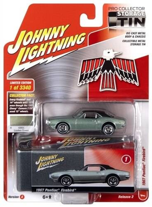 Johhny Lightning 1/64 Johhny Lightning 1967 Pontiac Firebird Linden Green with Collector Tin