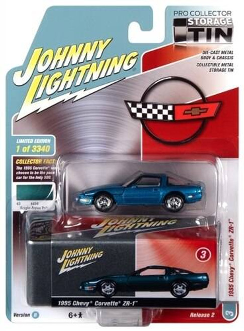 Johhny Lightning 1/64 Johhny Lightning 1995 Chevrolet Corvette ZR-1 Bright Aqua Poly with Collector Tin