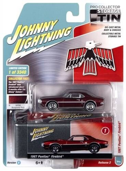 Johhny Lightning 1/64 Johhny Lightning 1967 Pontiac Firebird Flambeau Burgundy Poly with Collector Tin