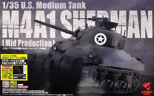 Asuka 1/35 Scale M4A1 Sherman (Mid Production) w/ WWII US Army Antenna