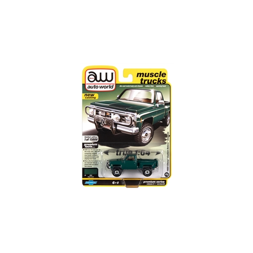 1/64 Auto World 1980 Chevrolet Custom Deluxe 10 Step Side Truck (Bright Green & Front Push Bar)Diecast
