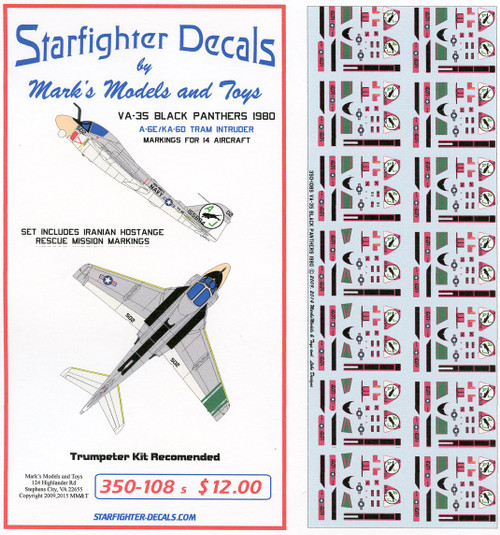 Starfighter Decals 1/350 Scale VA-35 Black Panthers A-6E TRAM 1980