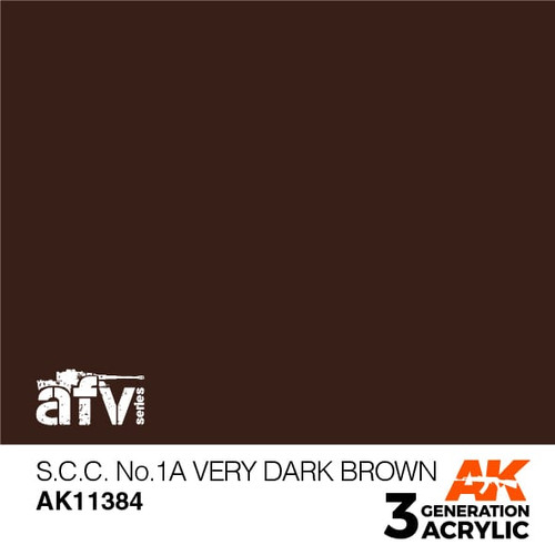AK Interactive 3rd Generation Paint - S.C.C. No.1A Very Dark Brown