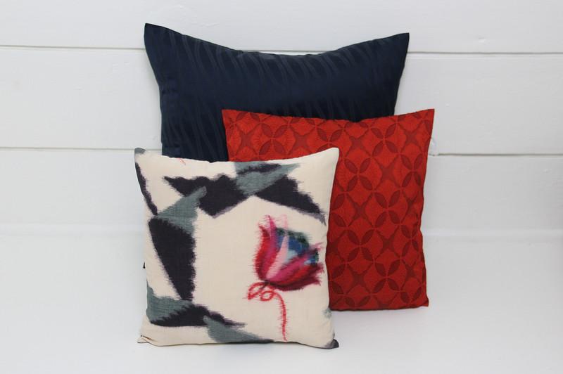 Winter Flowers Ikat Pillow
