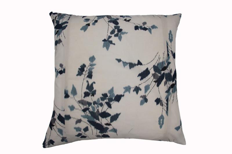 Ikat Indigo Flowers Pillow