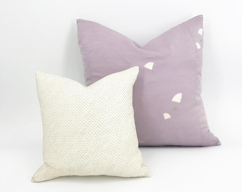 Lavender Shibori Floating Leaves Pillow