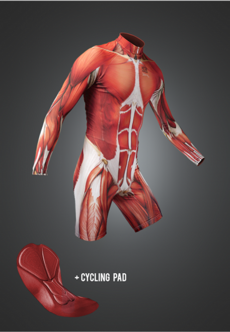 Muscle Skinsuit long arm short legs with cycling pad