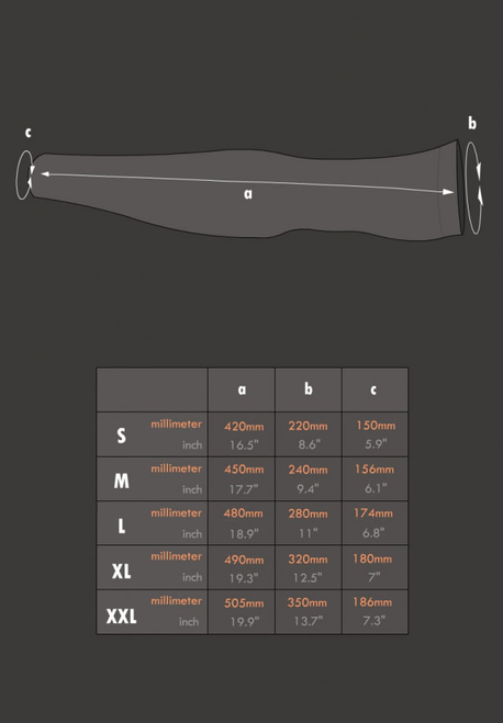 Muscle Armwarmers - size charts