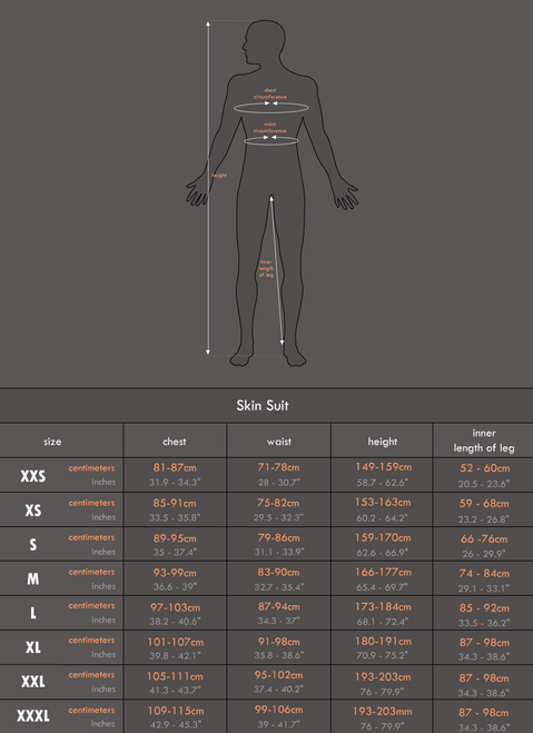 more information about size charts on: http://muscleskinsuit.com/size-charts