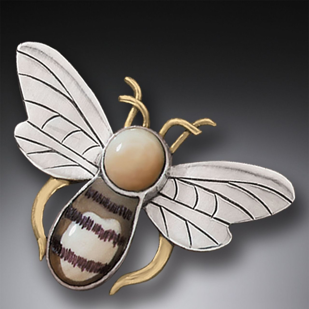 14kt Gold Sterling Silver and Ivory Honey Bee Pin/Pendant