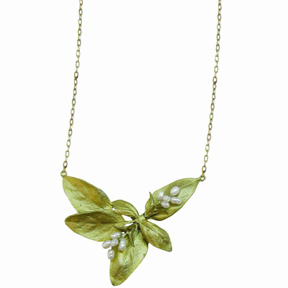 Sweet Basil Large Leaf Pearl Pendant Necklace
