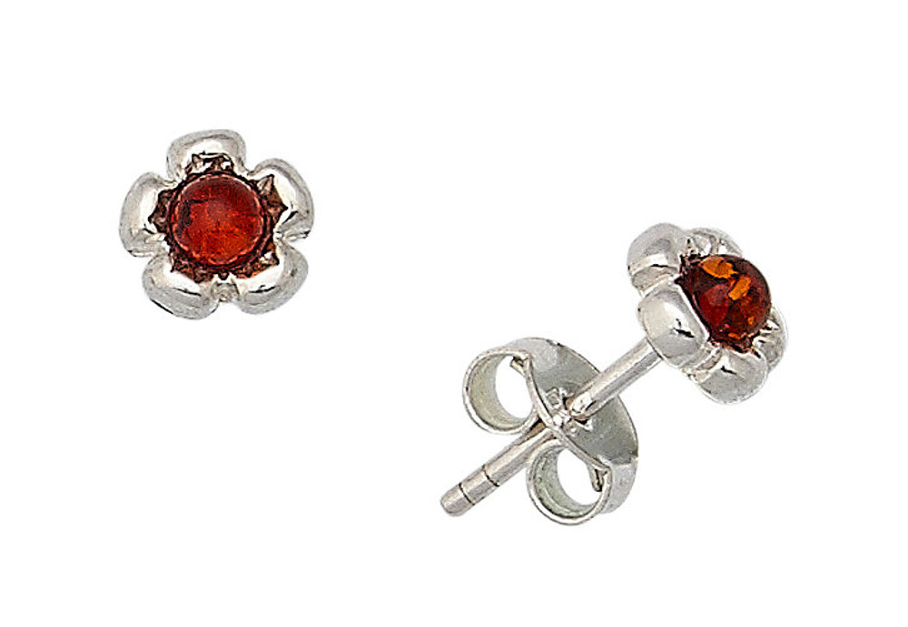 Cognac Amber Flower Stud Earring