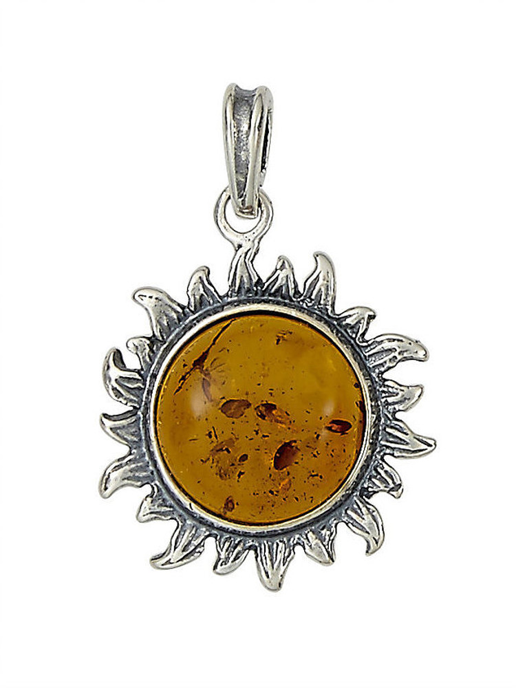 Sunflower Pendant in Honey Amber