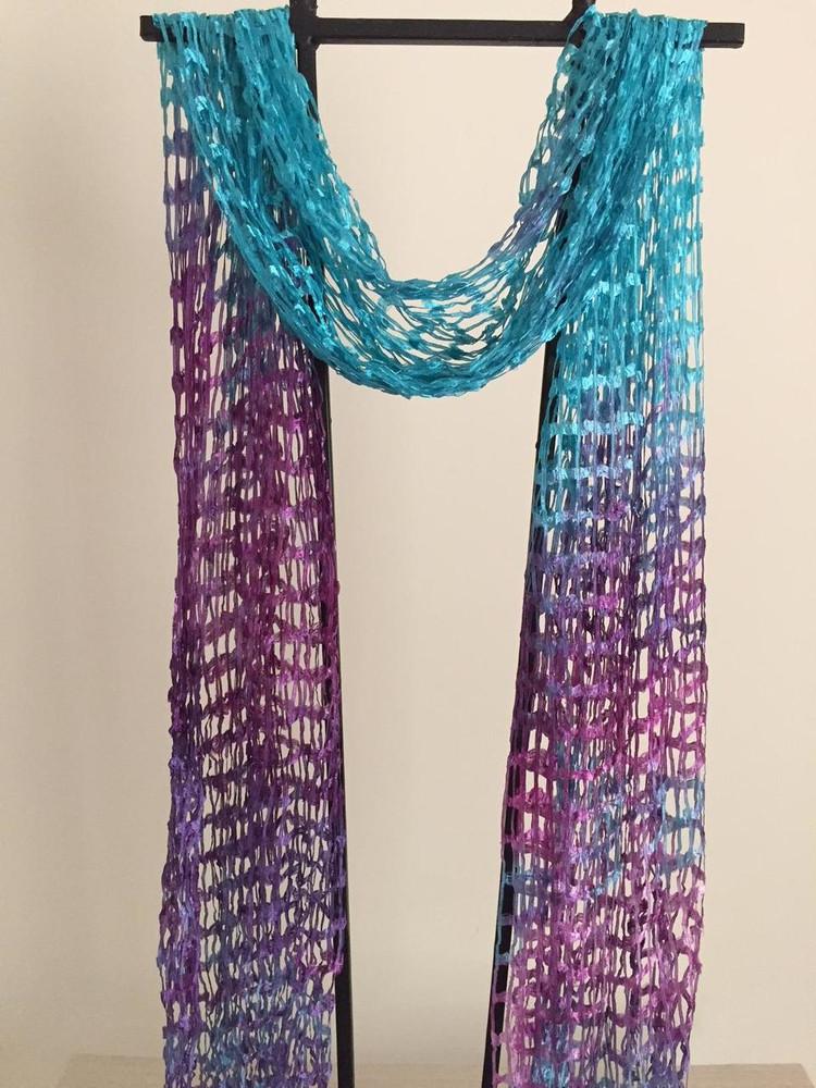 Open Weave Silk Scarf, Bahamian Paradise