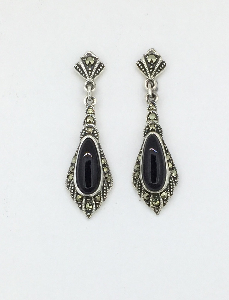 Teardrop Marcasite Onyx Post Drop Earrings