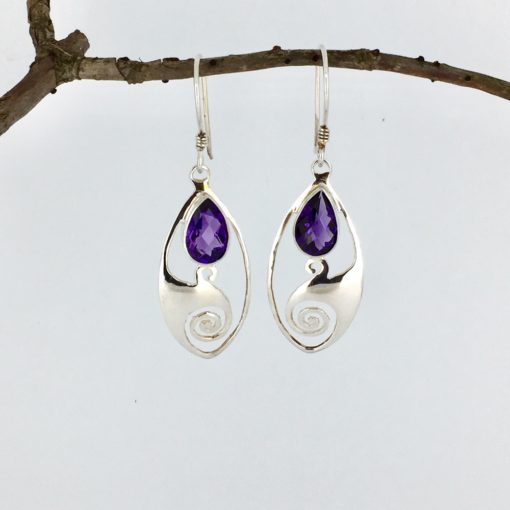 Amethyst Teardrop Sterling Silver Dangle Earrings