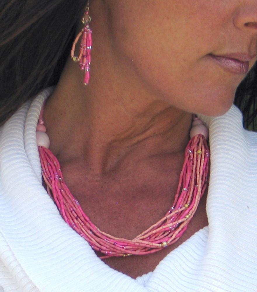 "handmade african grass bead necklace multi-strand kuponya ""to heal"""