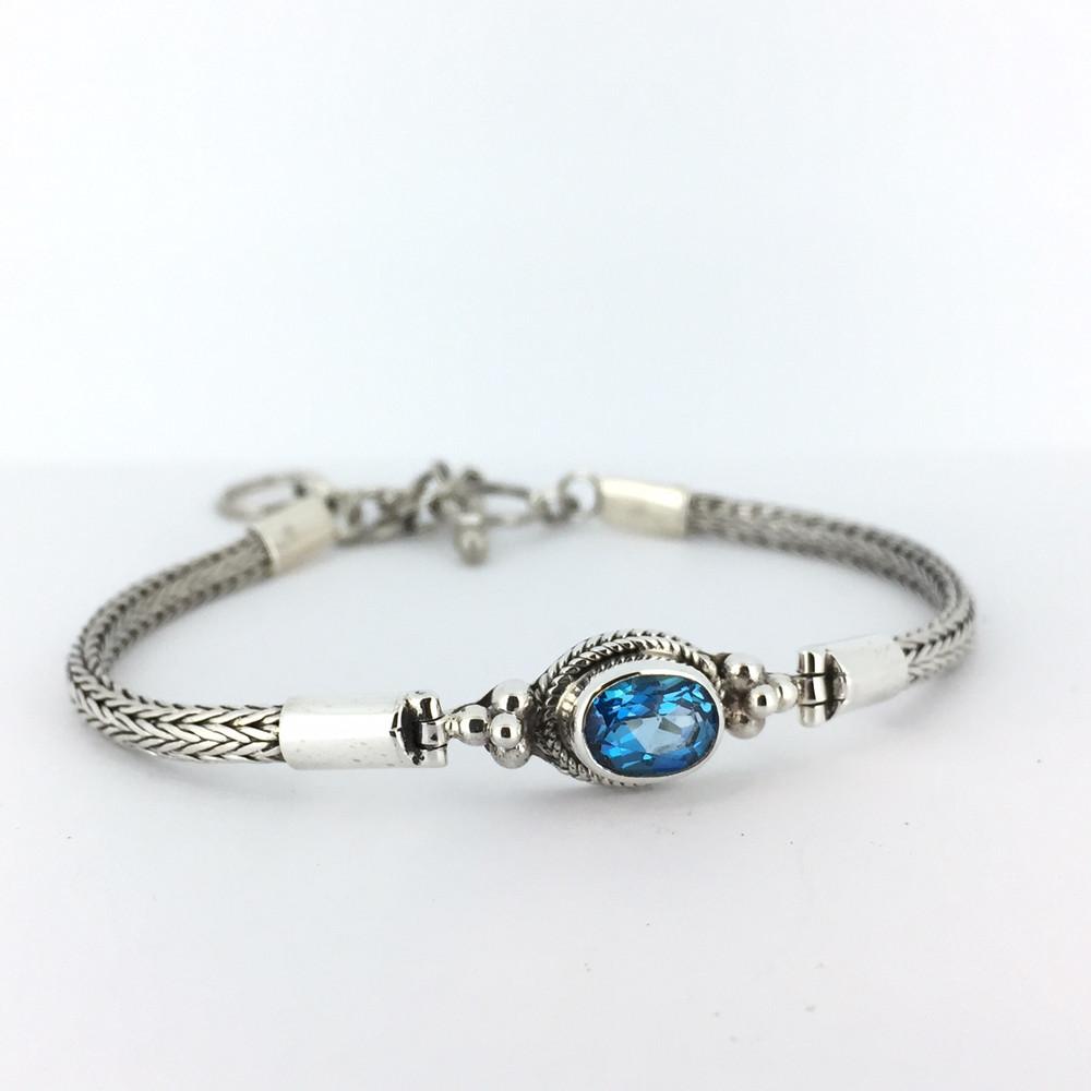 Blue Topaz Oval Stone Sterling Silver Toggle Bracelet