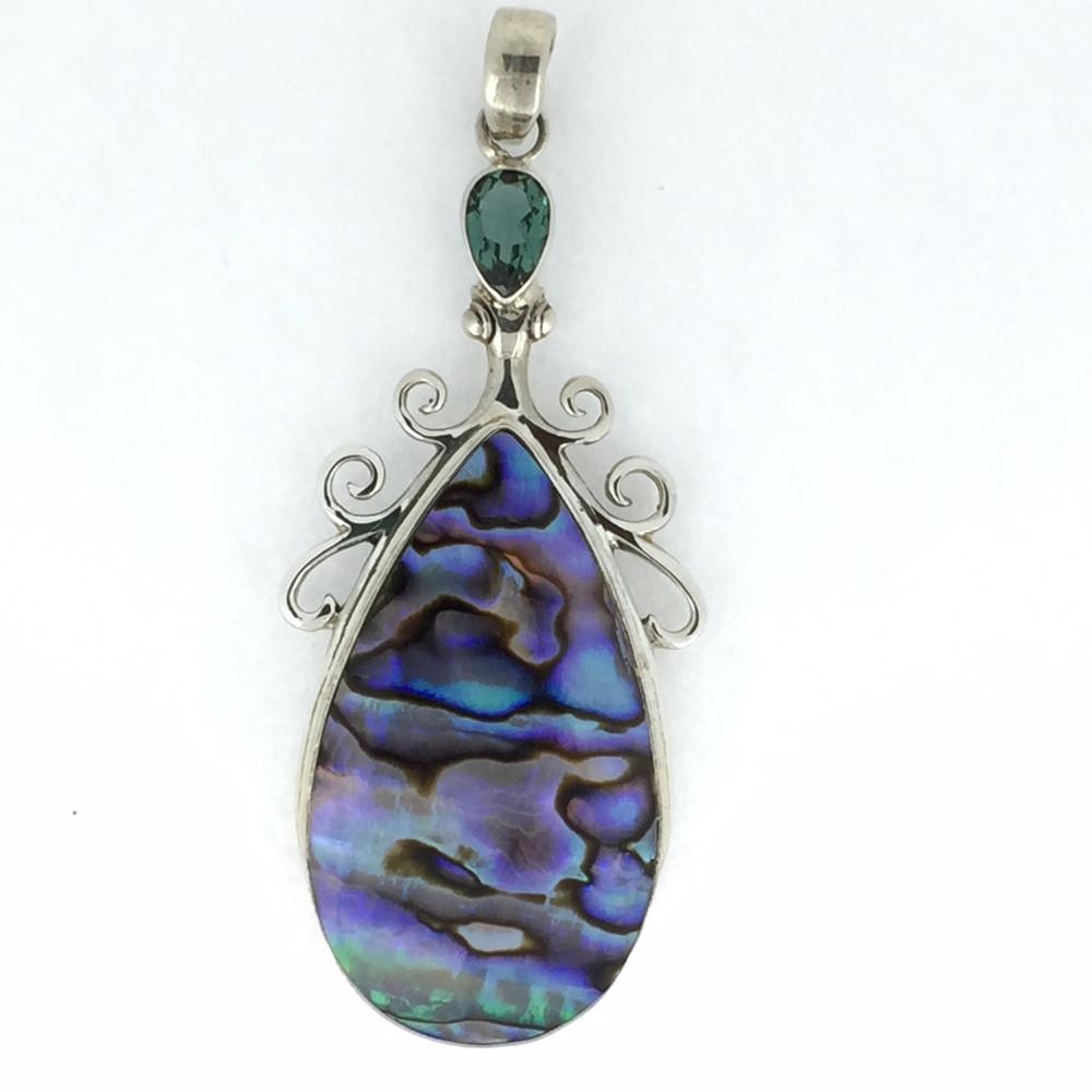 Sterling Silver Green Quartz/Abalone Pendant
