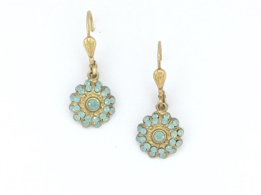 Gold Pacific Blue Swarovski Chrystal Flower  Earrings
