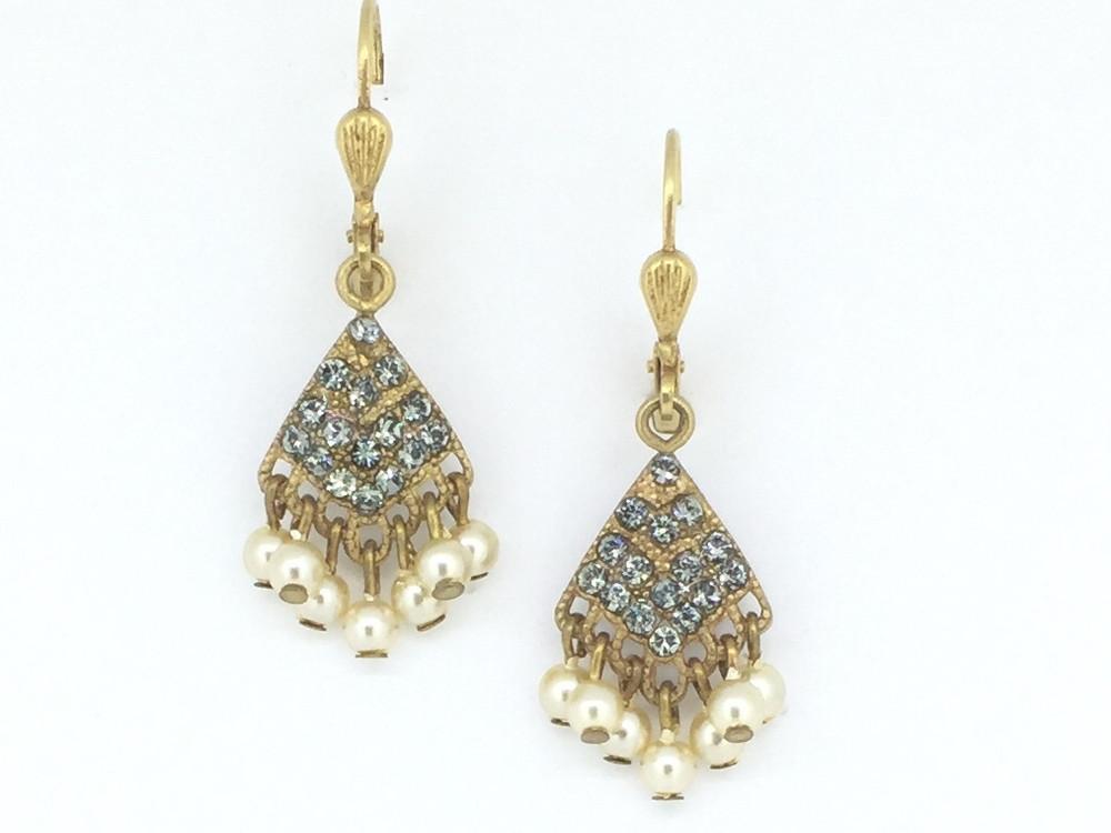 Gold Pearl/Clear Swarovski Crystal Fan Earrings
