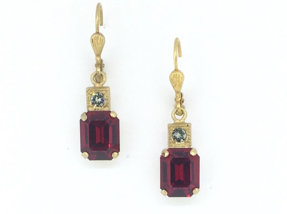 60a23c9b8 Gold Rectangle Siam Swarovski Crystal Earrings - Mima's Of Warwick, LLC