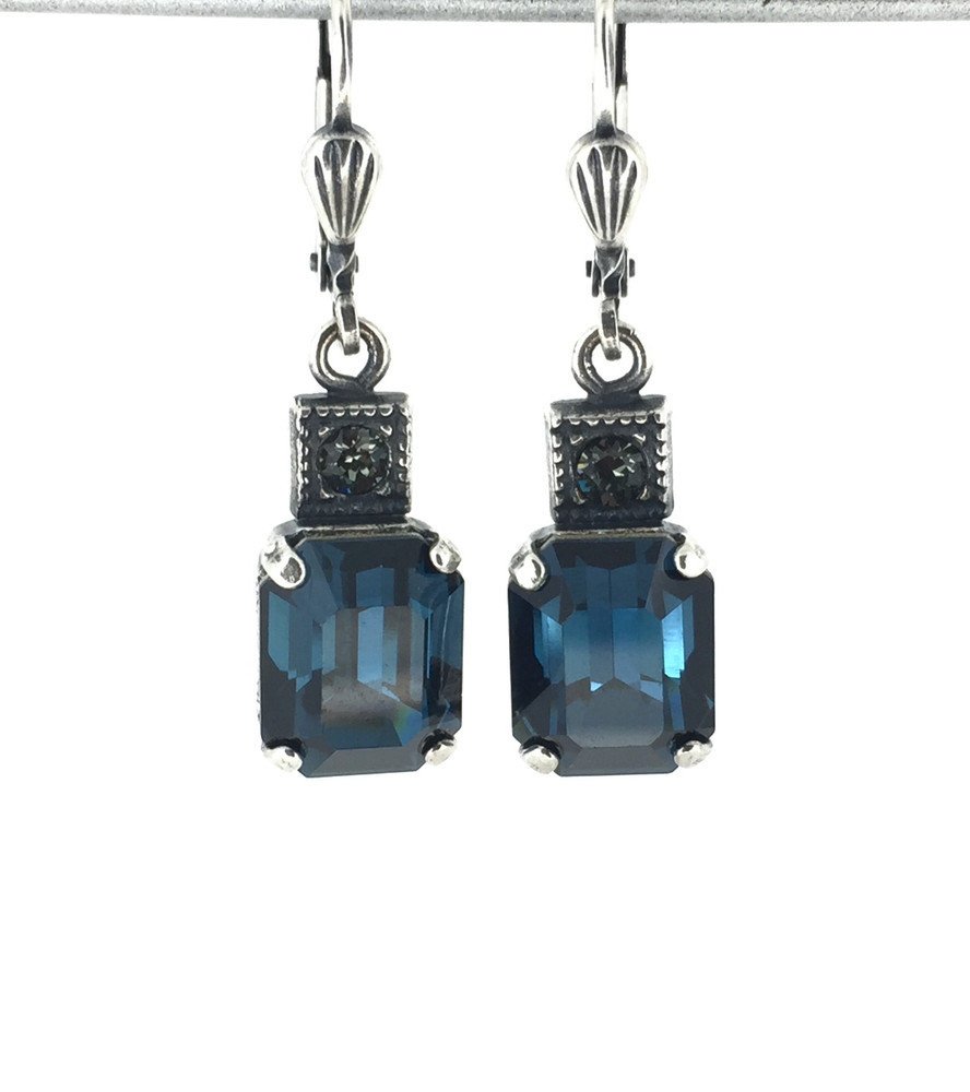 3bdf00fed Small Silver Rectangle Montana Blue Crystal Earrings - Mima's Of Warwick,  LLC