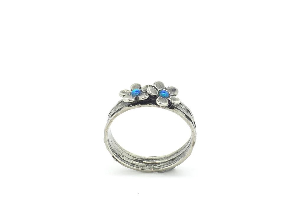 Double Flower Blue Opal Ring
