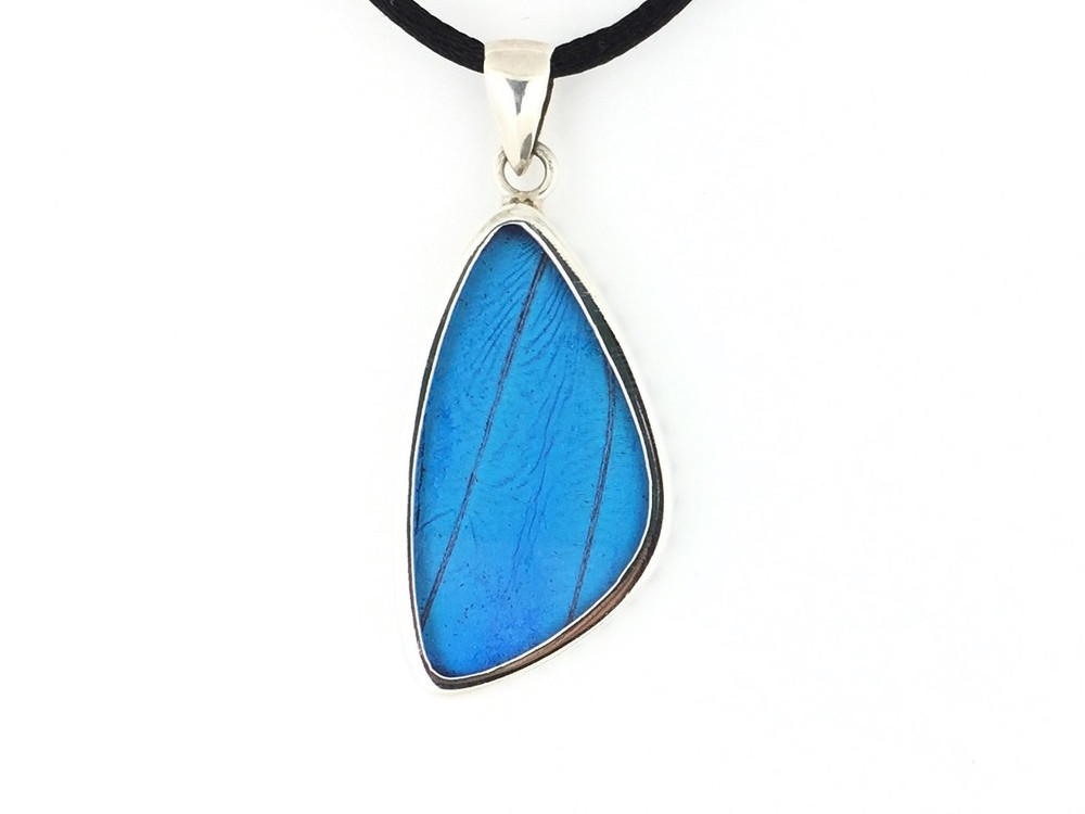 Blue Morpho Butterfly Wing Pendant (Medium)