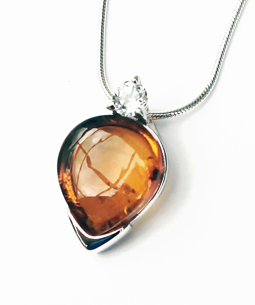 Cognac Amber Pendant with CZ Accent