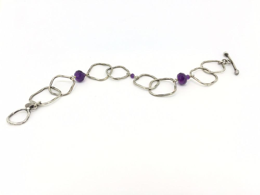 Amethyst/Sterling Silver Hammered Square Link Toggle Bracelet