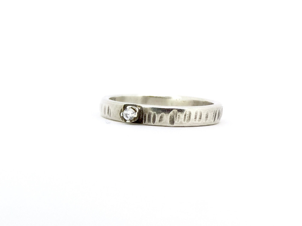 Sterling Silver Etched Band Ring w/2mm CZ