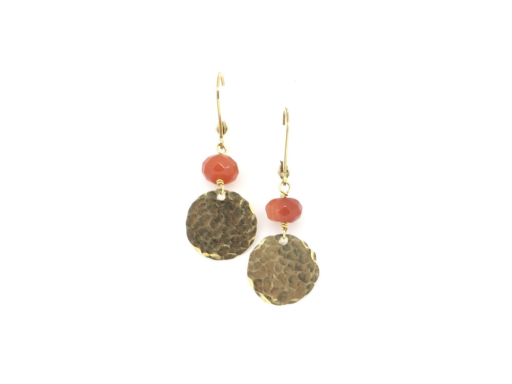 Hammered Sterling Silver/14K Gold Filled Carnelian Lever Back Earrings
