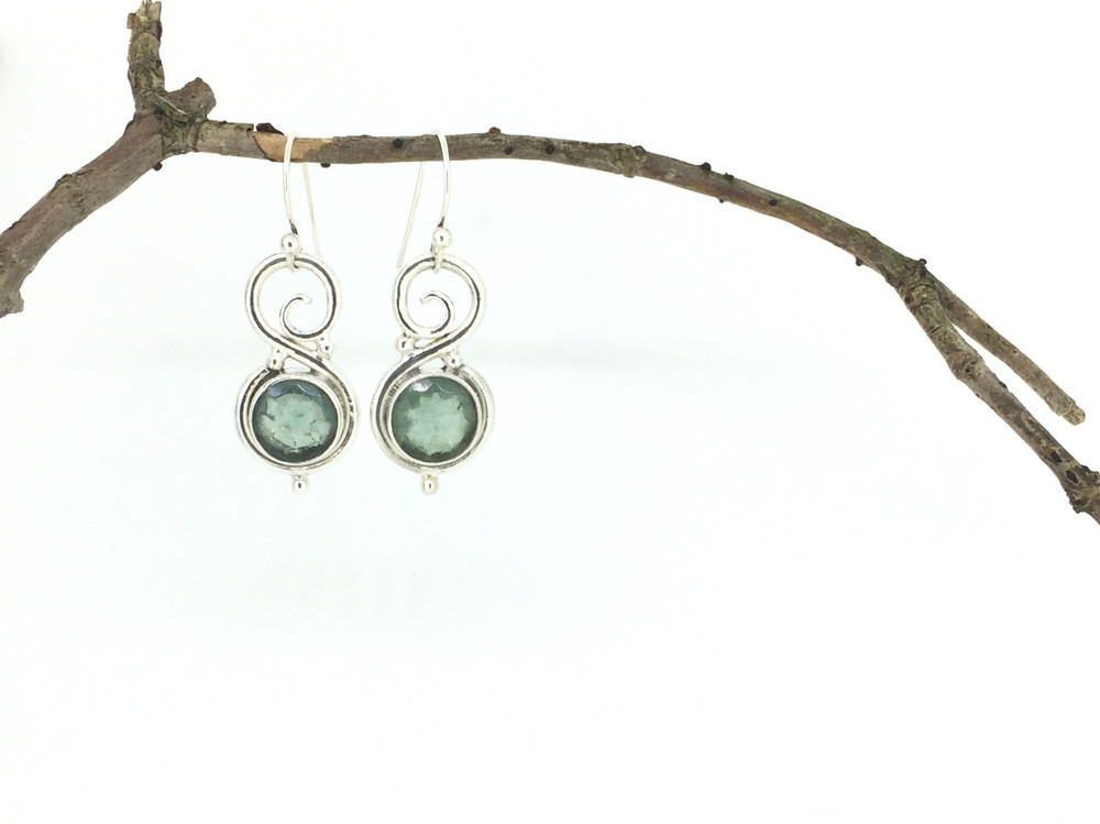 Round Sterling Silver Apatite Fish Hook Earrings