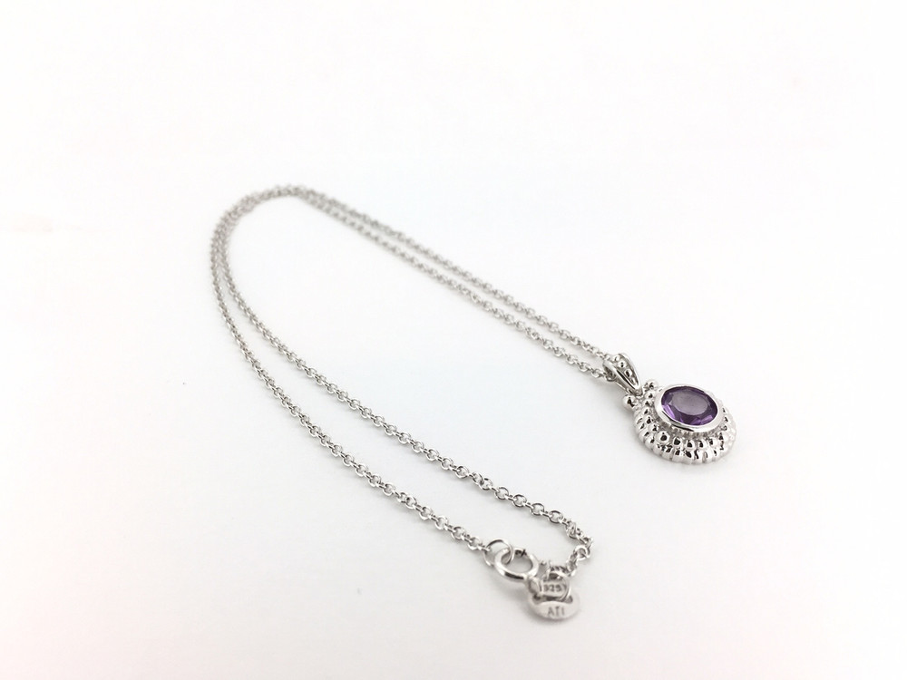 a8680483d Round Sterling Silver/Amethyst Necklace Round Sterling Silver/Amethyst  Necklace