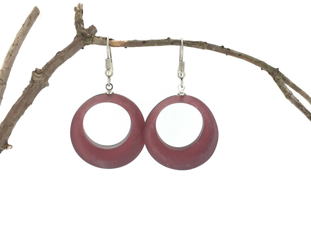 Circles Wire Earrings, Merlot