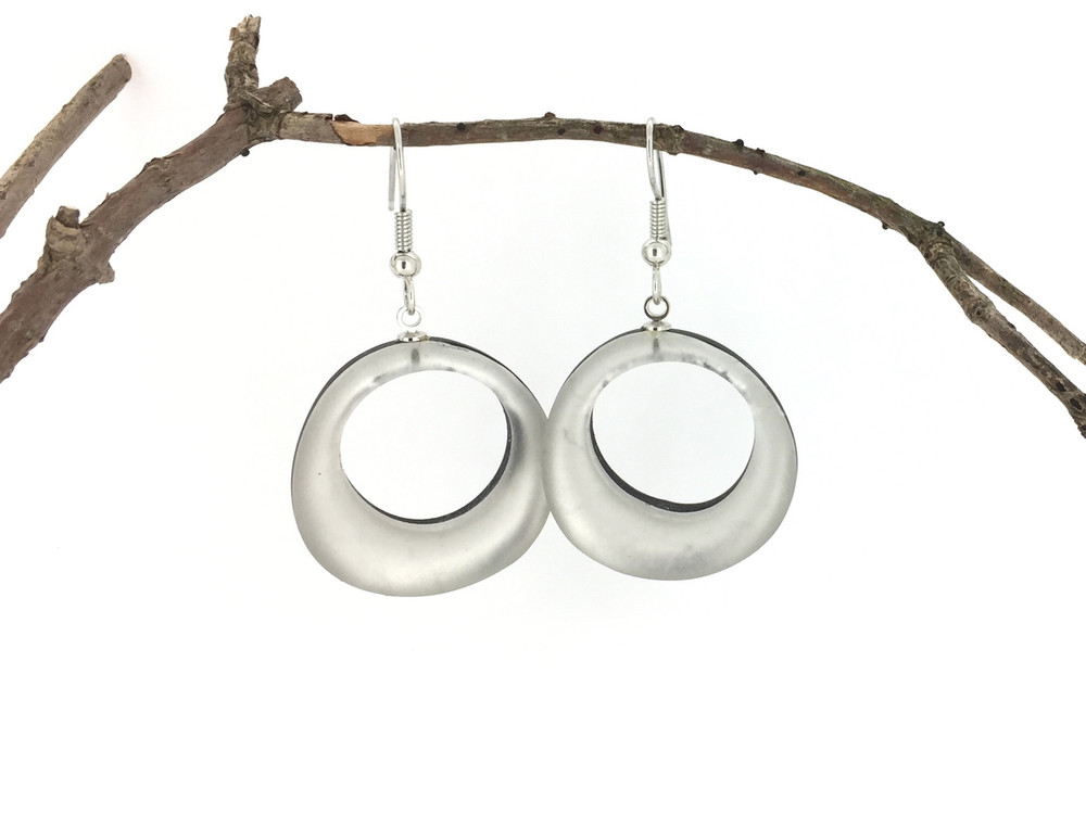 Circles Wire Earrings, White