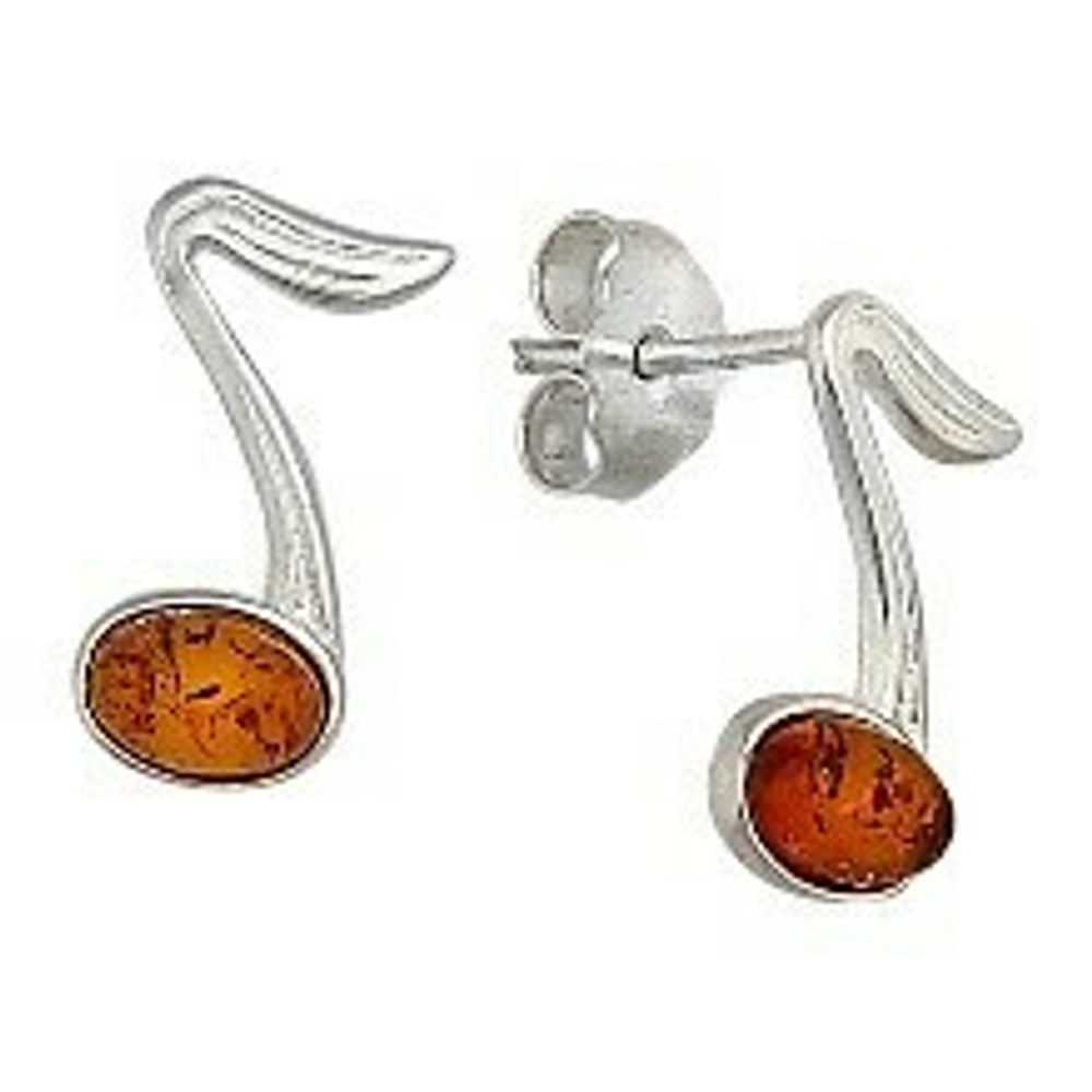 Small Honey Musical Note Post Earrings