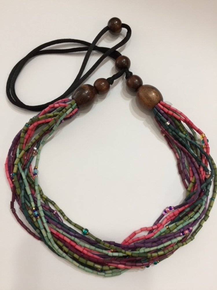 Handmade Multi-Strand Zulugrass African Necklace in Potpourri