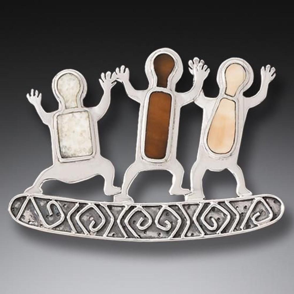 Handmade Fossilized Walrus Ivory Three Dancers Pin