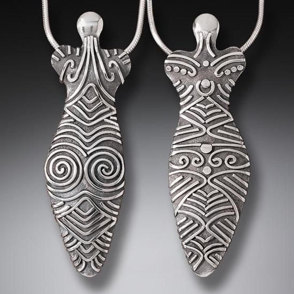Handmade Sterling Silver Large Cucuteni Goddess Pendant