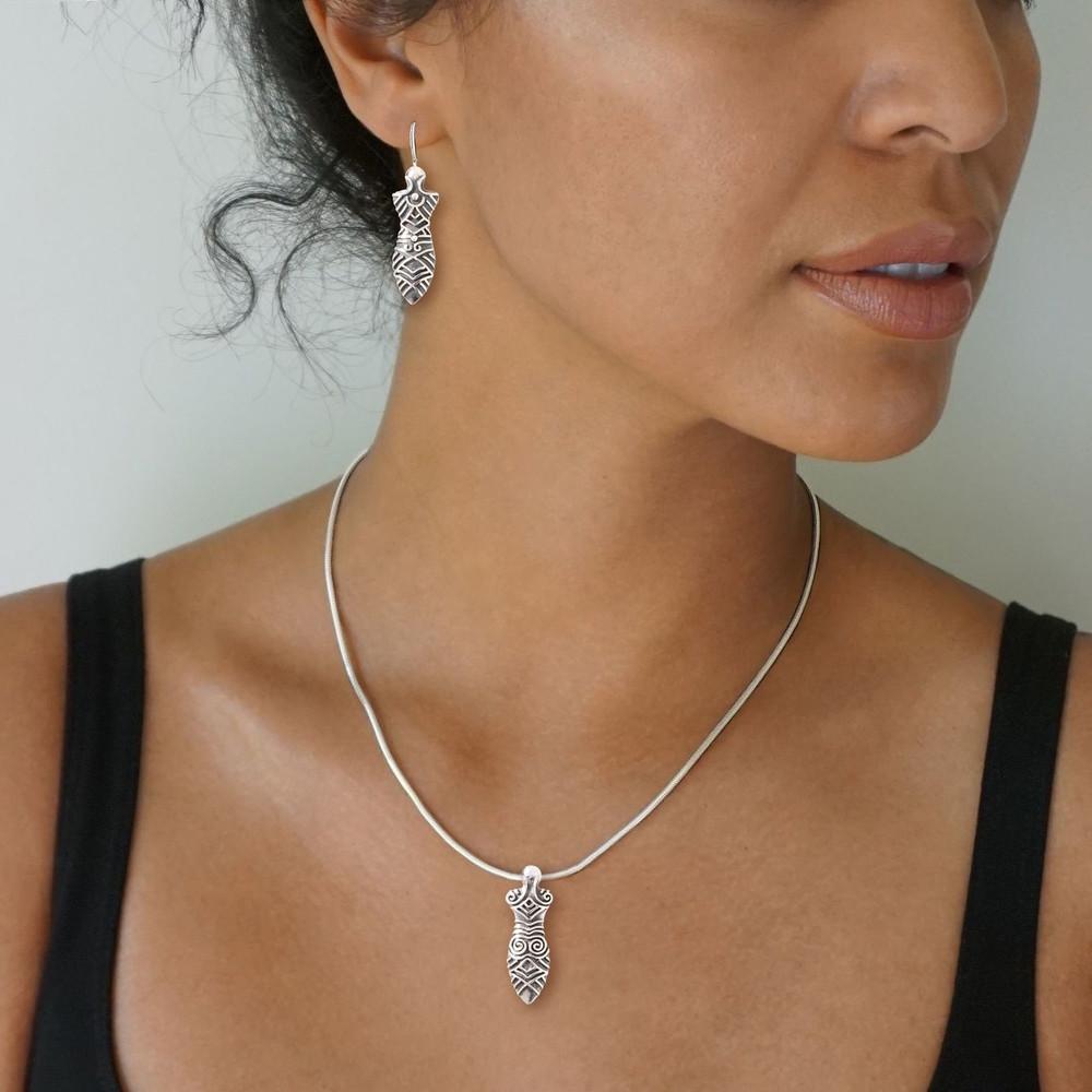Sterling Silver Handmade Silver Cucuteni Goddess Earrings