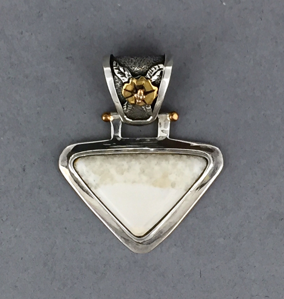Sterling Silver and Ivory Triangle Pendant