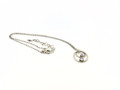 Hammered Sterling Silver Oval/Circle Necklace w/CZ